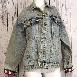 Vintage stone washed denim jacket coat
